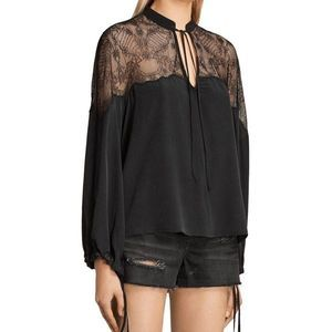 All Saints Laya Lace Silk Blouse